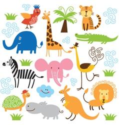Set cute tropical animals vector