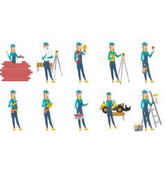 Set of builder characters vector