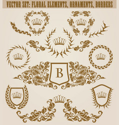 Set of golden monograms with floral elements for vector