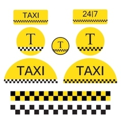 set taxi objects and symbols vector image