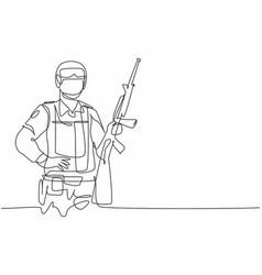 single one line drawing young male soldier vector image