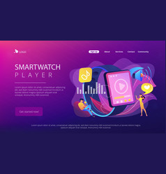 Smartwatch player concept landing page vector