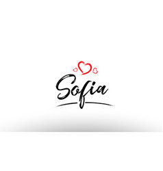 Sofia europe european city name love heart vector