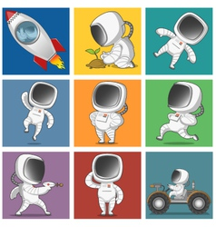 Spaceman set vector