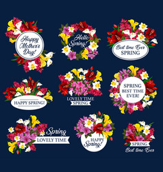 spring holiday and mother day icon with flower vector image