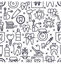 Stomatology seamless pattern in thin line style vector