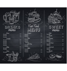 Template chalkboard menu cafe vector