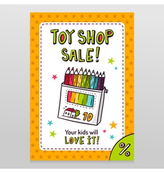 Toy shop sale flyer design with box of colored vector