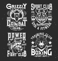 Tshirt prints with bear and boar mascots vector