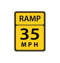 Usa traffic road sign slow down maximum advised vector