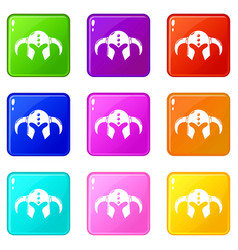 Viking helmet classic icons set 9 color collection vector