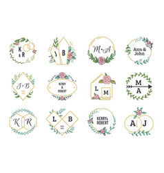 Wedding logos floral boho monograms and frames vector