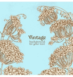 Wild flowers - umbrellas blue vintage background vector image