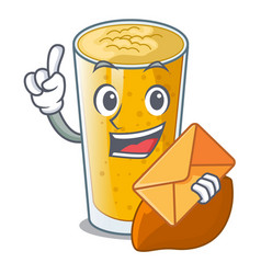 with envelope lassi mango in a cartoon bottle vector image