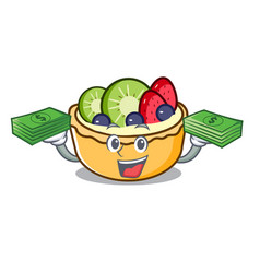 With money bag fruit tart mascot cartoon vector