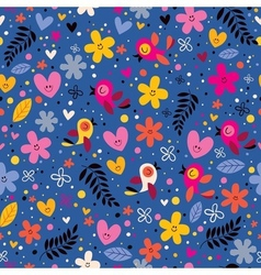flowers hearts birds love nature seamless pattern vector image