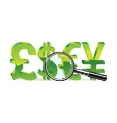 magnifier and sign of money vector image vector image