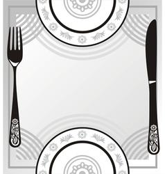 Menu plate fork knife vector image vector image
