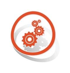 Settings sign sticker orange vector image