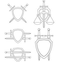 shield sword vector image