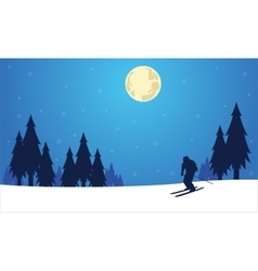 Silhouette of people skier winter Christmas vector image vector image