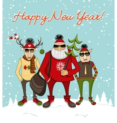 Christmas background with hipster Santa vector image vector image