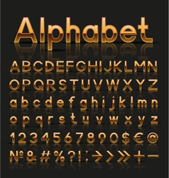 Decorative golden alphabet vector image