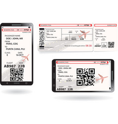 mobile phone and paper boarding pass vector image