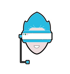 Boy face with 3d glasses to dimension experience vector