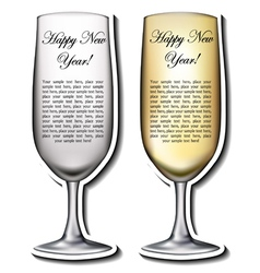 Champagne glass shaped card vector image vector image