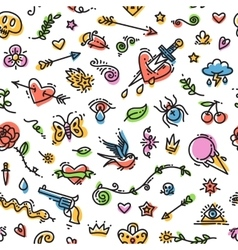 Colorful Funny Old School Tattoo Seamless Pattern vector image