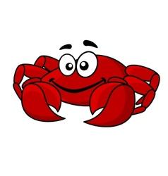 Fun smiling red cartoon crab vector image vector image