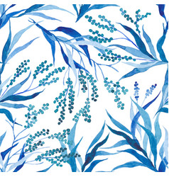 hand painted watercolor leaves seamless floral vector image