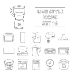 household appliances set icons in outline style vector image