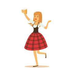 pretty waitress in a red bavarian traditional vector image vector image