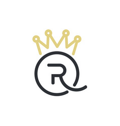 royal queen letters and crown logo vector image