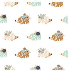 seamless pattern with hedgehogs vector image