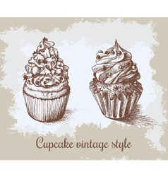 Set of sweet bakery decorated cupcakes hand drawn vector image