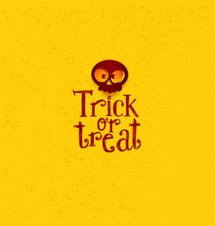 trick or treat tag with cartoon skull vector image