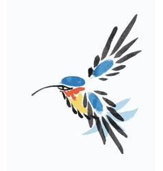 Watercolor blue hummingbird in flight vector image