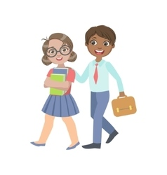 Boy And Girl Walking From School Together vector image vector image