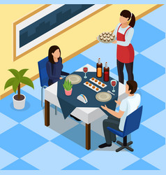 catering isometric background vector image vector image