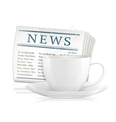 Newspaper and cup of coffee vector image vector image