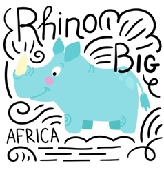 Rhino blue background isolated vector image vector image
