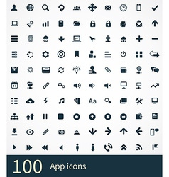 100 app icons vector image