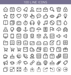 100 line icons vector image