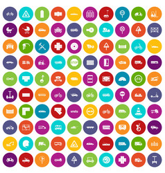 100 road icons set color vector