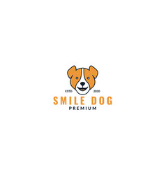 Beagle dog face head smile cute logo design modern vector