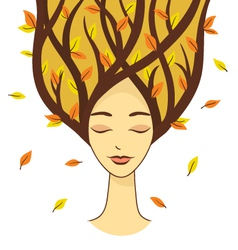 Beautiful woman of autumn vector image