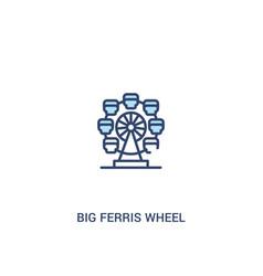 Big ferris wheel concept 2 colored icon simple vector